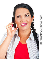 Portrait of woman talking at phone mobile