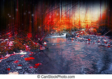 Mysterious dark forest with magic, surreal creek flowing