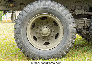 Close-up of a military vehicle wheel