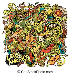 Cartoon hand-drawn doodles Latin American illustration....