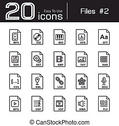 Files icon set 2 ( mp4 , iso , mid , apk , otf , bak , bat ,...