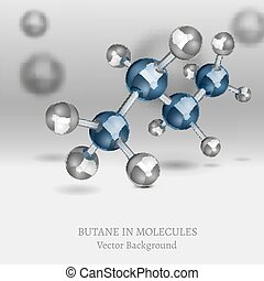 Butane Molecules Background - Scientific backdrop with...