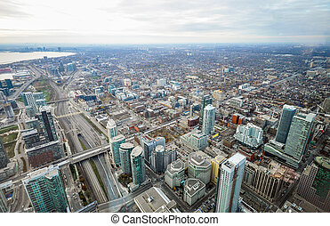 Toronto aerial view - Aerial view of downtown of Toronto,...