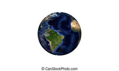 realistic planet earth on a white background
