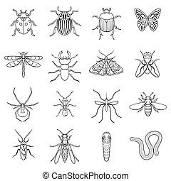 Insects set icons in outline style. Big collection of insects vector symbol stock illustration