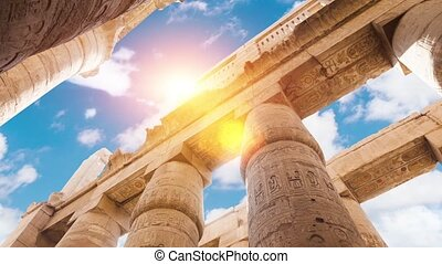 Great Hypostyle Hall and clouds at the Temples of Karnak...