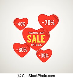 Vector illustration of real red paper heart for valentines day sale template