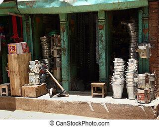 Vintage shop - Typical Nepal roadside shop.