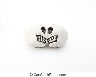 Two white skull on a white background for Halloween...