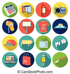 Advertising set icons in flat style. Big collection of advertising vector symbol stock illustration