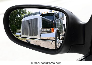rearview car driving mirror overtaking big truck lorry