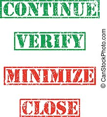 Four stamp with grunge. Continue, verify, minimize, close -...