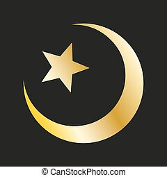 Star and crescent in gold. Islamic symbol