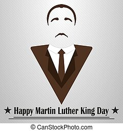 Martin Luther King Day. Hairstyle, mustache and suit -...