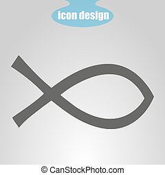 Icon fish on a gray background. Vector illustration. Christianity Sign