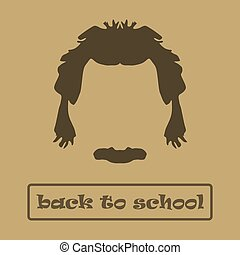 Icon hair and mustache Einstein. Vector illustration - Icon...