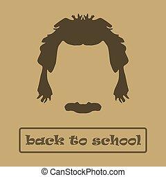 Icon hair and mustache Einstein. Vector illustration - Icon...