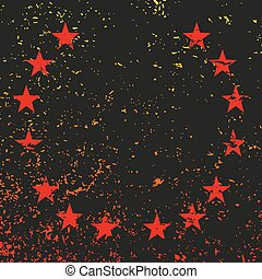 Red stars on a black background with grunge. Vector illustration