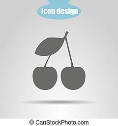 Icon of cherry on a gray background. Vector illustration