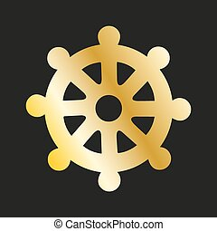 Icon wheel of of Dharma in gold. Buddhist symbol