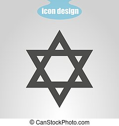 Star of David on a gray background. Vector illustration. Judaism sign