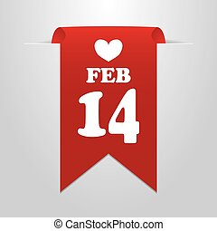 February 14 Valentine's Day. Red label on a gray...