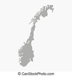 Map of Norway in gray on a white background