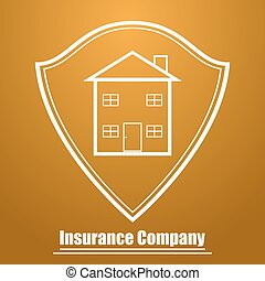 Logo of the insurance company in the form of a shield with the image of the house