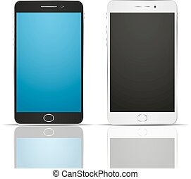 Two realistic smartphone with reflection. Black and white -...
