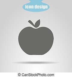 Icon of apple on a gray background. Vector illustration