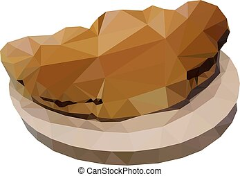 Croissant with chocolate on a plate in the style of triangulation