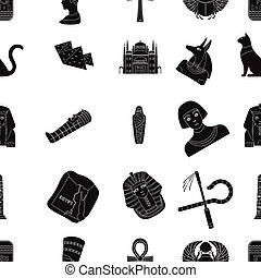 Ancient Egypt pattern icons in black style. Big collection...