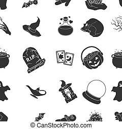 Black and white magic pattern icons in black style. Big...