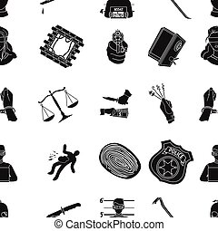 Crime pattern icons in black style. Big collection of crime vector symbol stock illustration