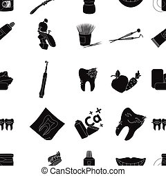 Dental care pattern icons in black style. Big collection of dental care vector symbol stock illustration