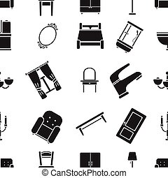 Furniture pattern icons in black style. Big collection of furniture vector symbol stock illustration