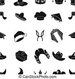 Hats pattern icons in black style. Big collection of hats vector symbol stock illustration