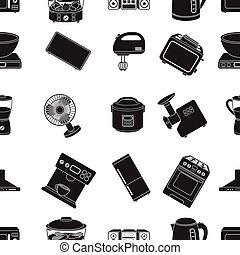 Household appliances pattern icons in black style. Big collection of household appliances vector symbol stock illustration