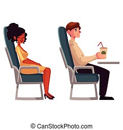 Airplane passengers - black, african woman and man drinking...