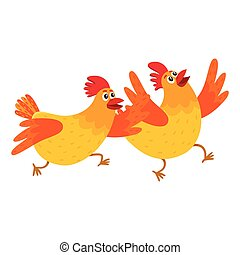 Two funny cartoon orange chickens, hens rushing, hurrying...
