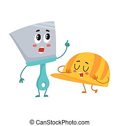 Funny hand trowel pointing up and helmet, hard hat character...