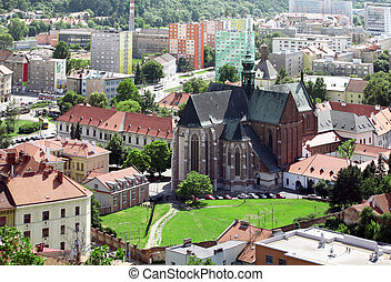 Brno cathedral of saint Peter and Paul from top view