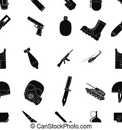 Military and army pattern icons in black style. Big...