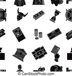 Money and finance pattern icons in black style. Big collection of money and finance vector symbol stock illustration