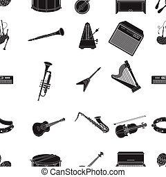 Musical instruments pattern icons in black style. Big...