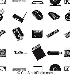 Personal computer pattern icons in black style. Big...