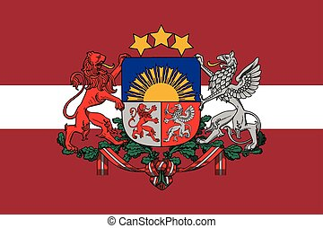 Flag of Latvia with Coat of Arms. Vector Format