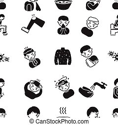 Sick pattern icons in black style. Big collection of sick...