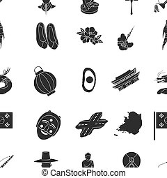 South Korea pattern icons in black style. Big collection of...