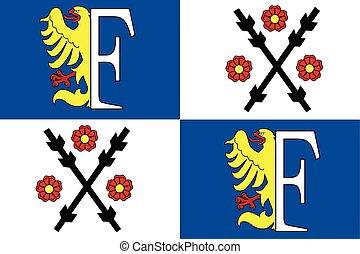 Flag of Frydek-Mistek, Czechia. Vector Format